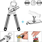 2in1 Can Opener Set Combo, Portable Manual Tin Opener with Lids off Smooth Edge Safe Stainless Steel Ergonomic Handle Kitchen Opener Tool Built-in Bottle Opener/ Lid Lifter + Jar Opener for Home/Restaurants/Catering/Travel/Picnic/Party