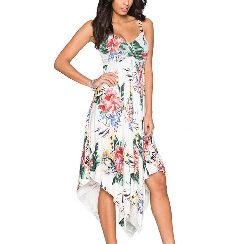 Women Floral Print Long Maxi Dress Party Tunic Boho Beach Dress Sundress White M