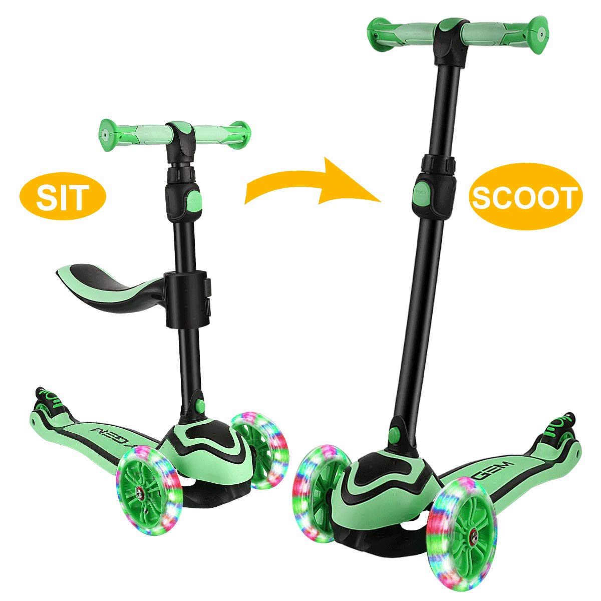 JOYGEM 2-in-1 Kids Scooter with Removable Seat, Deluxe 3 Wheel Todder Kick Scooter with Led Flashing Wheels & Adjustable Handlebar for 2-12 Years Boys Girls by JOYGEM