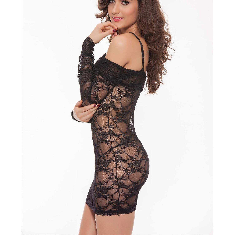 b32d2f4bc56f GHTWJJ Sra. Lencería Sexy Vestido Sexy De Encaje Calado Vestido ...