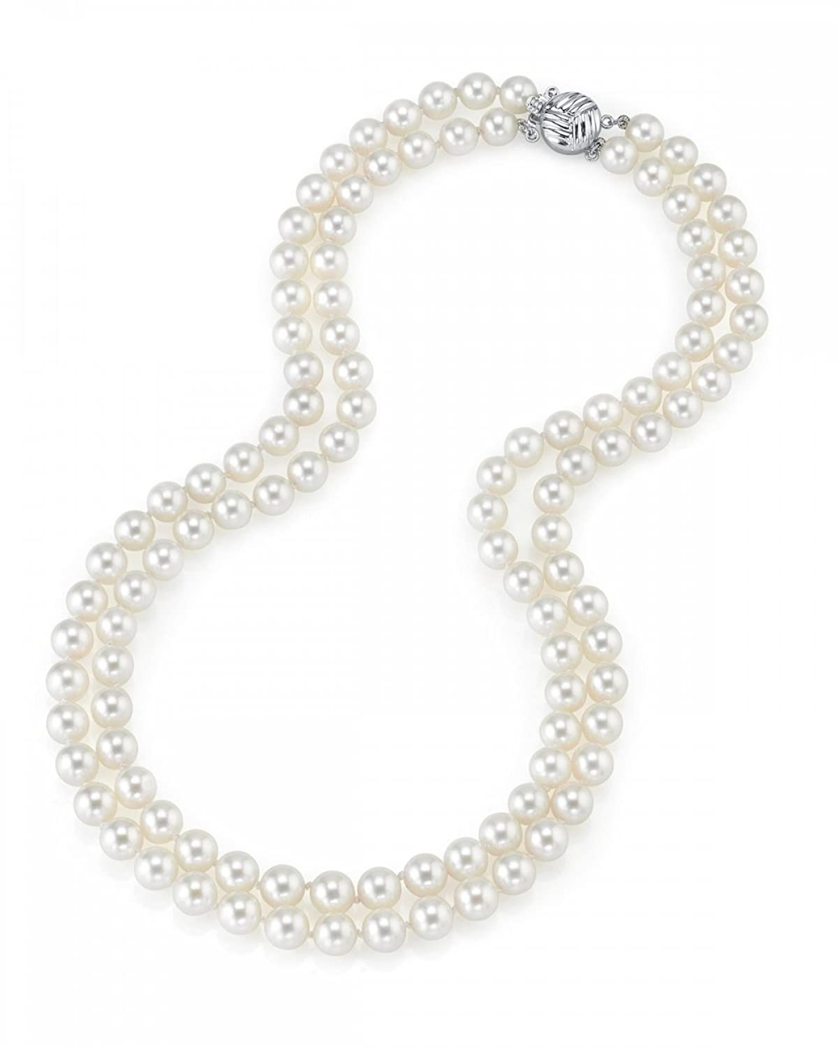 "14K Gold 7-8mm Double Strand White Freshwater Cultured Pearl Necklace, 24-25""Length"