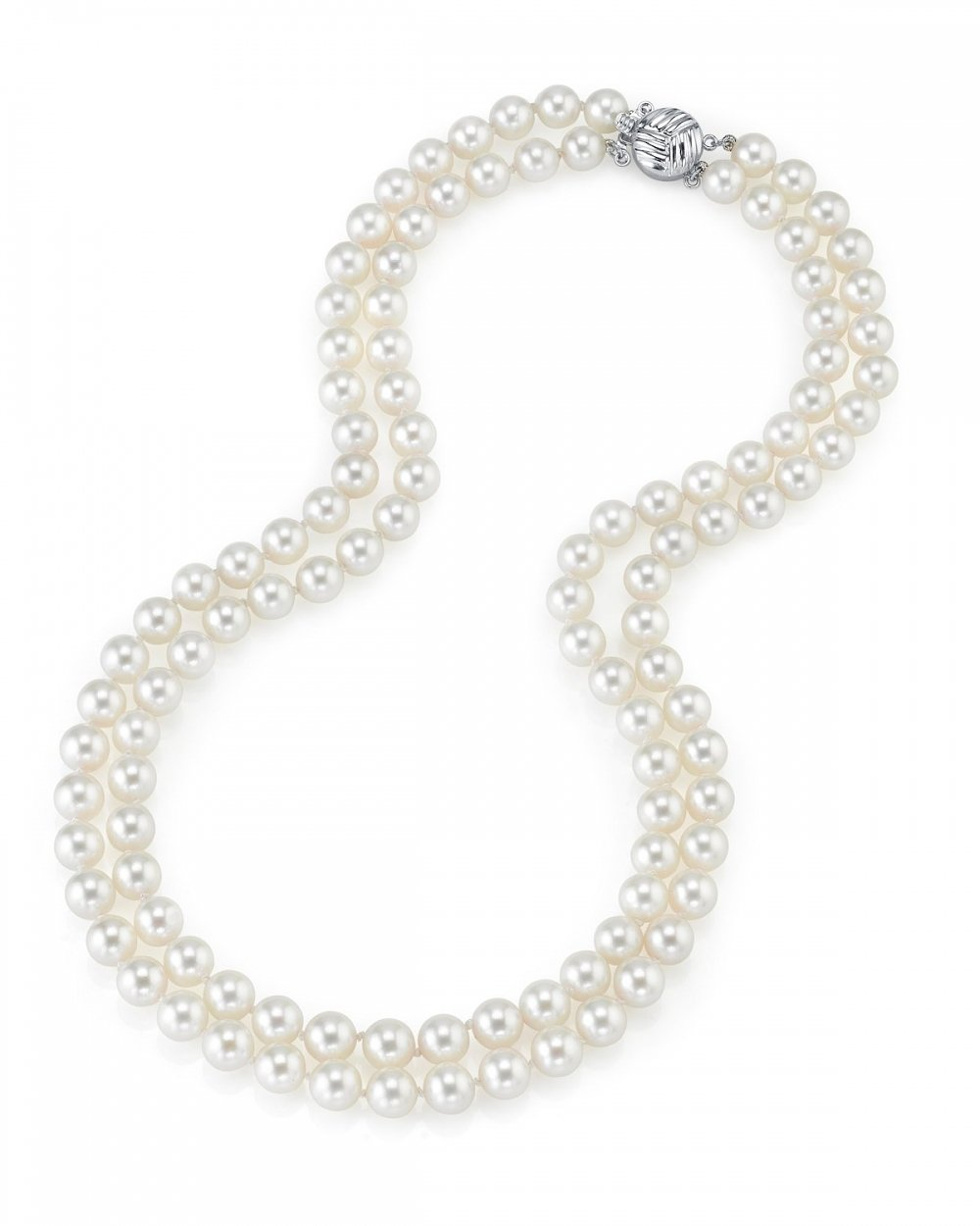THE PEARL SOURCE 14K Gold 7-8mm AAA Quality Double Strand White Freshwater Cultured Pearl Necklace for Women in 17-18'' Princess Length