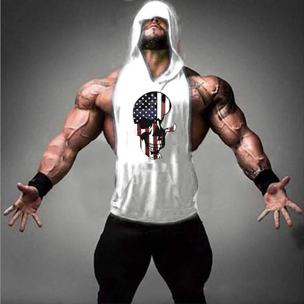 Cardigo Men Flag Splicing Sports Vest Independence Day Striped Splice Open-Forked Vest