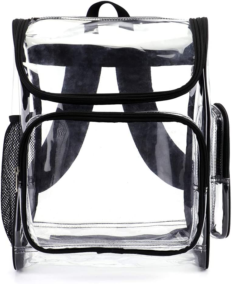 Heavy Duty Clear School Backpack Multi-Pockets Transparent Bookbags for Adults for Work,Gym,Stadium,Concert,Competition (Large,Black)