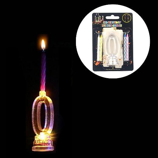 Juego de velas electrónicas LED multicolor intermitente número 0 - 9 luz - cumpleaños Navidad Acción de Gracias Hogar Niños Dormitorio ...