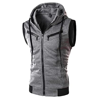 Easytoy Mens Slim Fit Sleeveless Sweatshirt Lightweight Zip-up Hooded Vest with Zipper Trim Hoodies