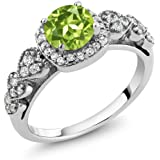 1.17 Ct Round Natural Green Peridot 925 Sterling Silver Women's Ring (Available in size 5, 6, 7, 8, 9)