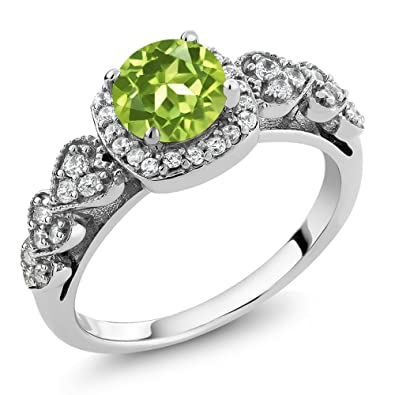 Gem Stone King 925 Sterling Silver Green Peridot Women's Ring (1 17 Ct  Gemstone Birthstone Available 5,6,7,8,9)