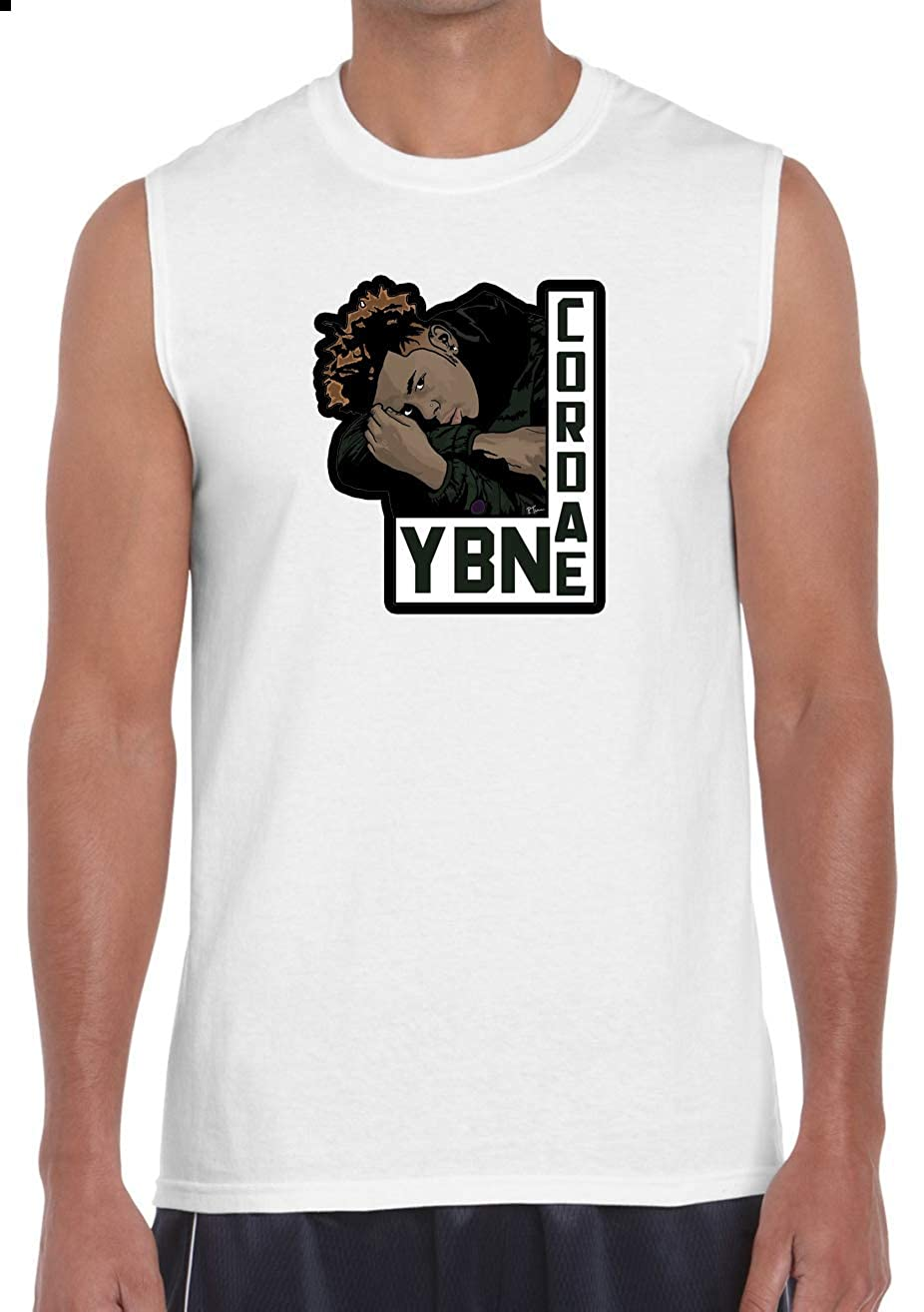 Adult YBN Cordae White Muscle T