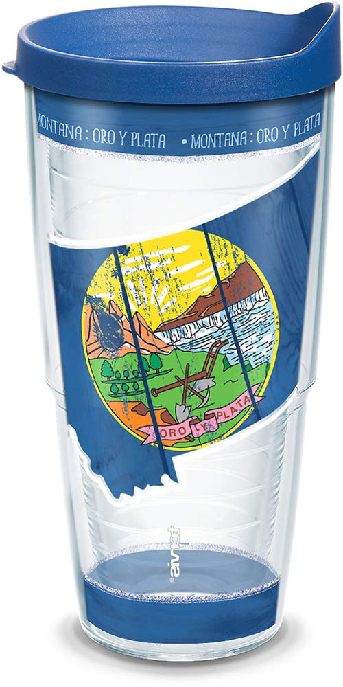 Tervis 1299651 Montana Wood State Outline Insulated Tumbler with Wrap and Blue Lid 24oz Clear