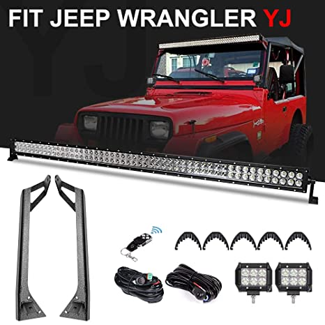 """Racbox 288W 50 Inch Off road Straight LED Light Bar + 2 x 4"""" LED on"""