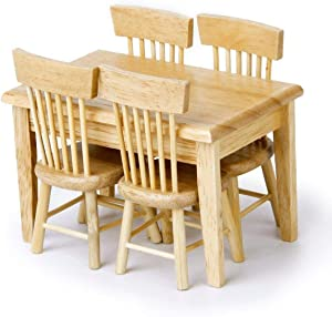 CuteExpress Dollhouse Miniature Dining Table Chair Set 1:12 Wooden Furniture 5Pcs Model Hobby Gift (Wood Color)