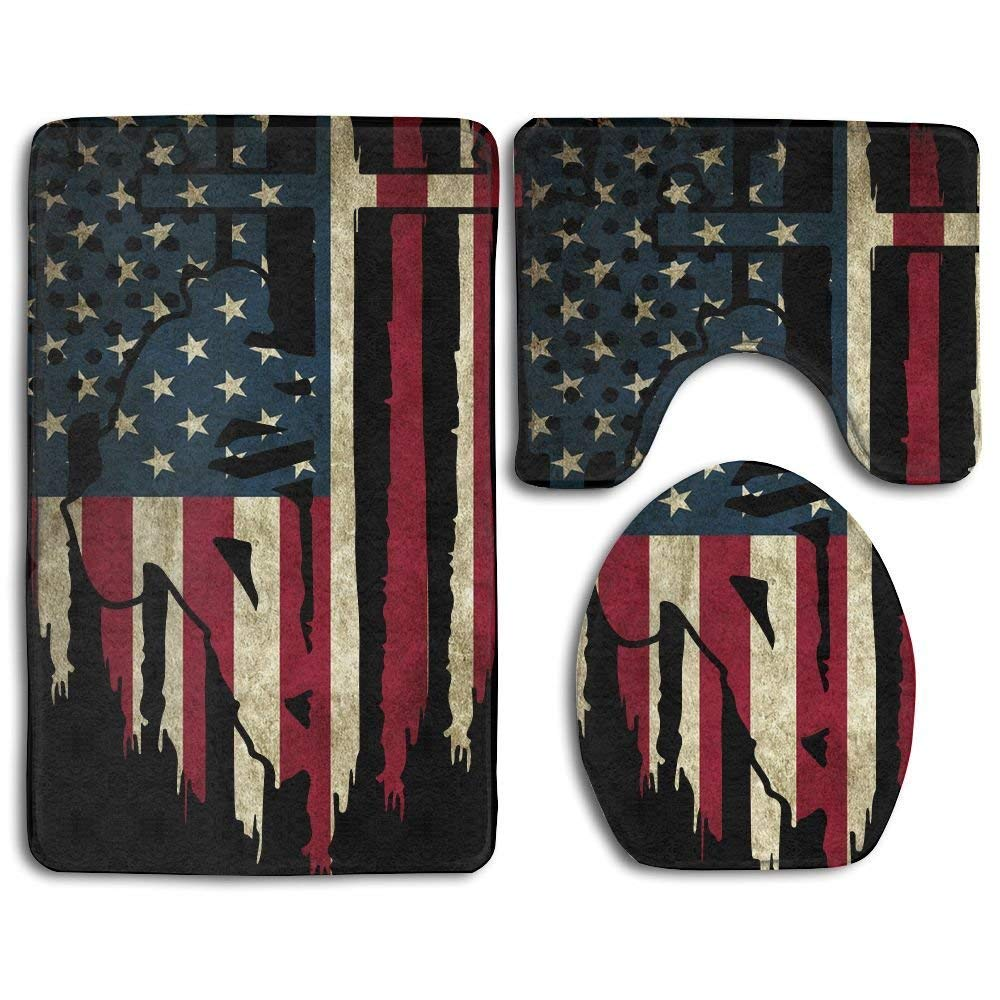 Lineman American Flag Bathroom Rug Set 3 Piece Bath Rug Set 4ESWY0ES14PFHJ4KZ9SC