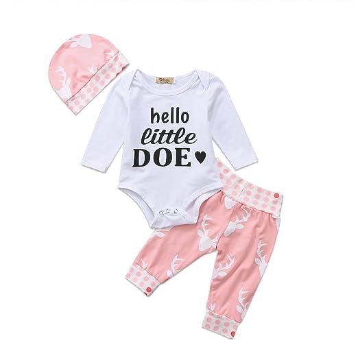461bfd908c5 Newborn Baby Girls Clothes Pants Outfits Hello Little Doe Long Sleeve  Romper Bodysuit Deer Long Pants