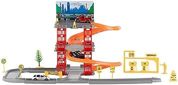 Spielzeugautos Parkplatz mit 5 Etagen Autos Hubschrauber Verkehrsschilder Spielzeugparkhaus Set