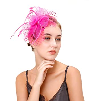 Fascinator Hats Derby Hats For Women Flower Feather Hair Clip Rose Red