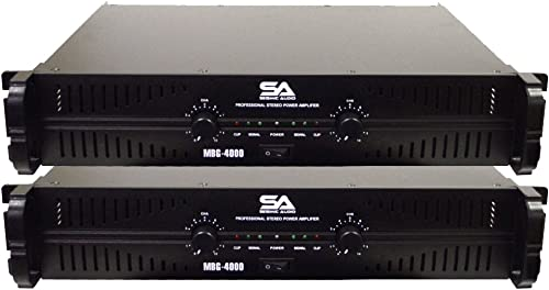 Seismic Audio – MBG-4000Pair – Pair of Power Amplifiers – 2 x 500 Watts at 8 Ohms – 2 x 1000 Watts at 4 ohms – Amp