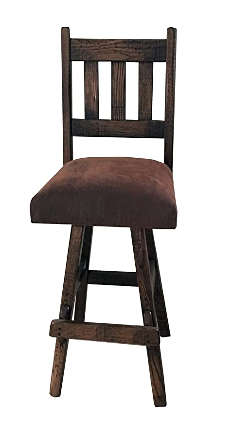 Amazoncom Barnwood Swivel Bar Stool Slat Back Upholstered Seat 30