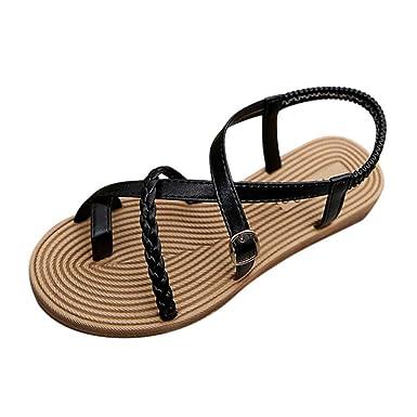 68b6a19aae8864 Photno Women Summer Bohemia Flat Sandals Open-Toe Beach Flip-Flop Shoes  Black