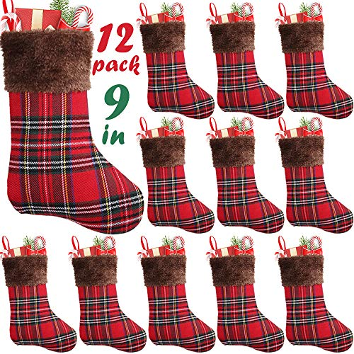 Stocking Holiday Holder (PartyBus 9 Inch Mini Christmas Stockings 12 Pack, Small Rustic Plaid Faux Fur Xmas Tree Decorations Bulk, Gift Card Holders Cash Bags Holiday Treats for Family Coworkers Neighbors Kids Dogs Cats)