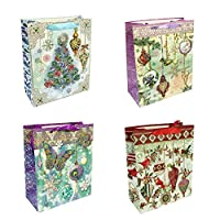 Allgala 12-PC Premium Christmas Printed Gift Bags, 8.5″
