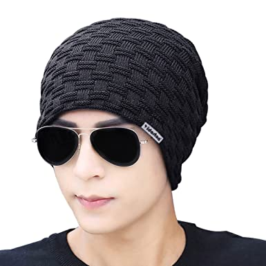 Yidarton Mens Knitted Slouch Beanie Hat Casual Winter Caps With
