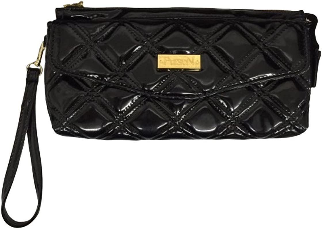 PurseN VIP Collection Black Leopard Quilted Wristlet