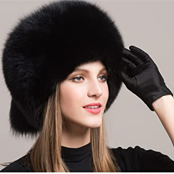 6803e378a78e7 Valpeak Women's Genuine Fox Fur Hat with Tail Russian Style Protect Ears  Winter Mongolian Hats (Black) at Amazon Women's Clothing store: