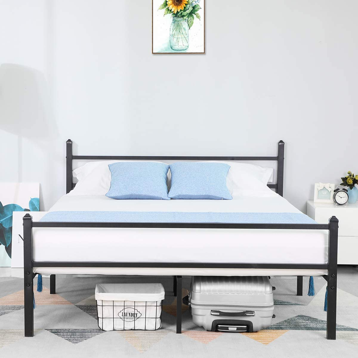 Black Reinforced Modern Studio Box Spring Replacement Mattress Base GreenForest Twin Bed Frame Metal Platform Bed with Headboard and Heavy Duty Steel Slats Support