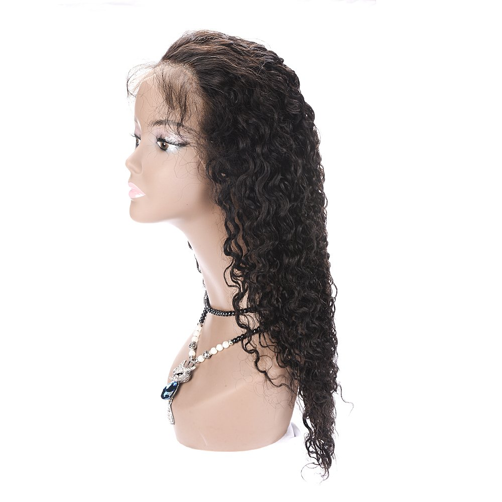 ... Elastic Net Cap Lace Front Human Hair Wigs for White and Black Women Water Wave Mid-Length 100 Real Brazilian Remy Virgin Hair Peluca 130% Density 160g ...