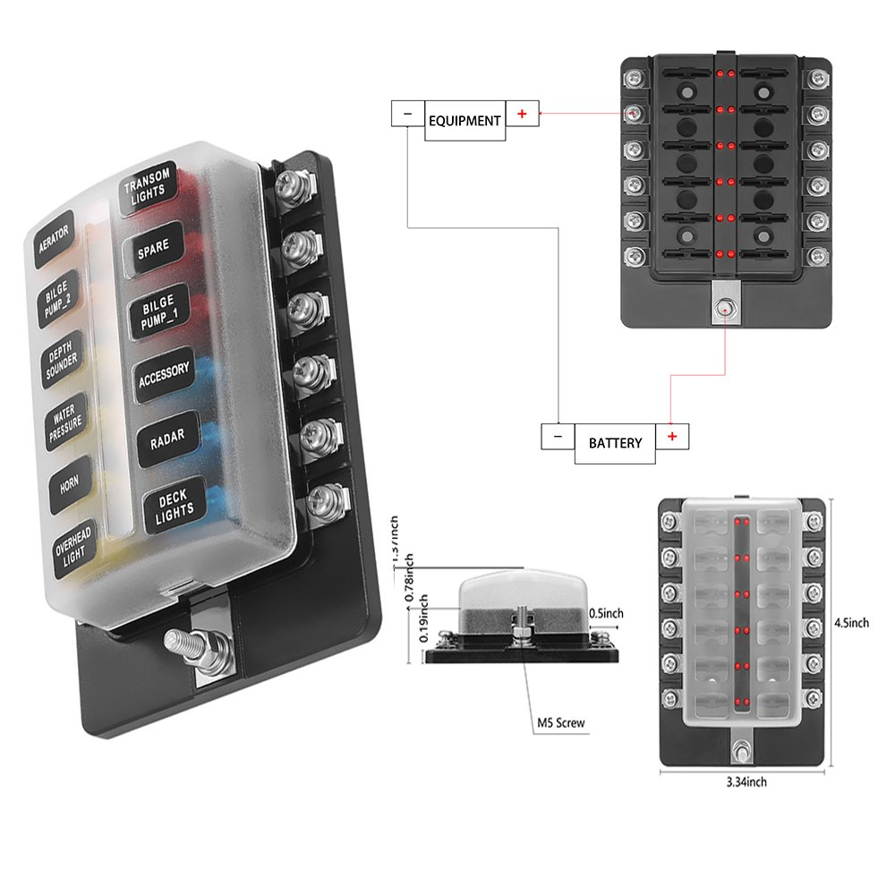 Amazon.com: Blade Fuse Block Box Holder 12 Way With LED Indicator for Blown  Fuse Suitable For Automotive Marine Boats Weiruixin (12way): Automotive
