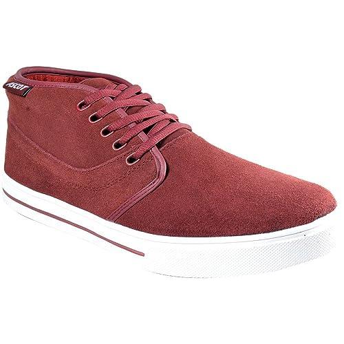 Zapatillas de Skate de Ante Piel Planas para Hombres con Cordones - Sintético, Burdeos, 47: Amazon.es: Zapatos y complementos