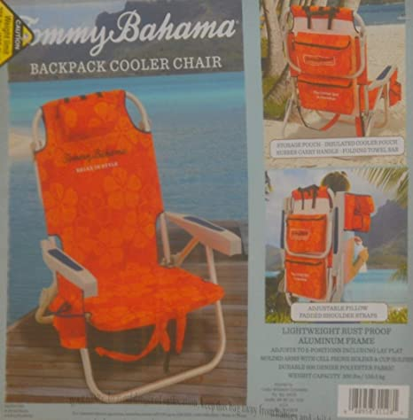 Orange//Red and Orange//Red Tommy Bahama 2 Backpack Cooler Chair with Storage Pouch and Towel Bar
