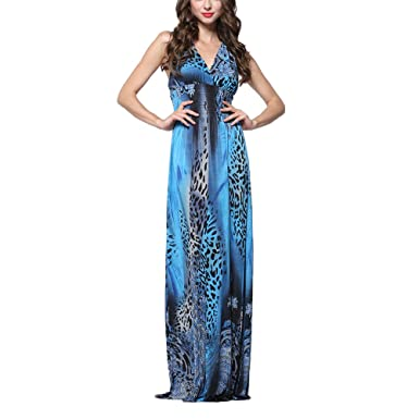 0eb84c60d2 Image Unavailable. Image not available for. Color: LUOEM Women's Leopard  Floral Print Bohemian Sexy Low-Cut V-Neck High Waist Sleeveless