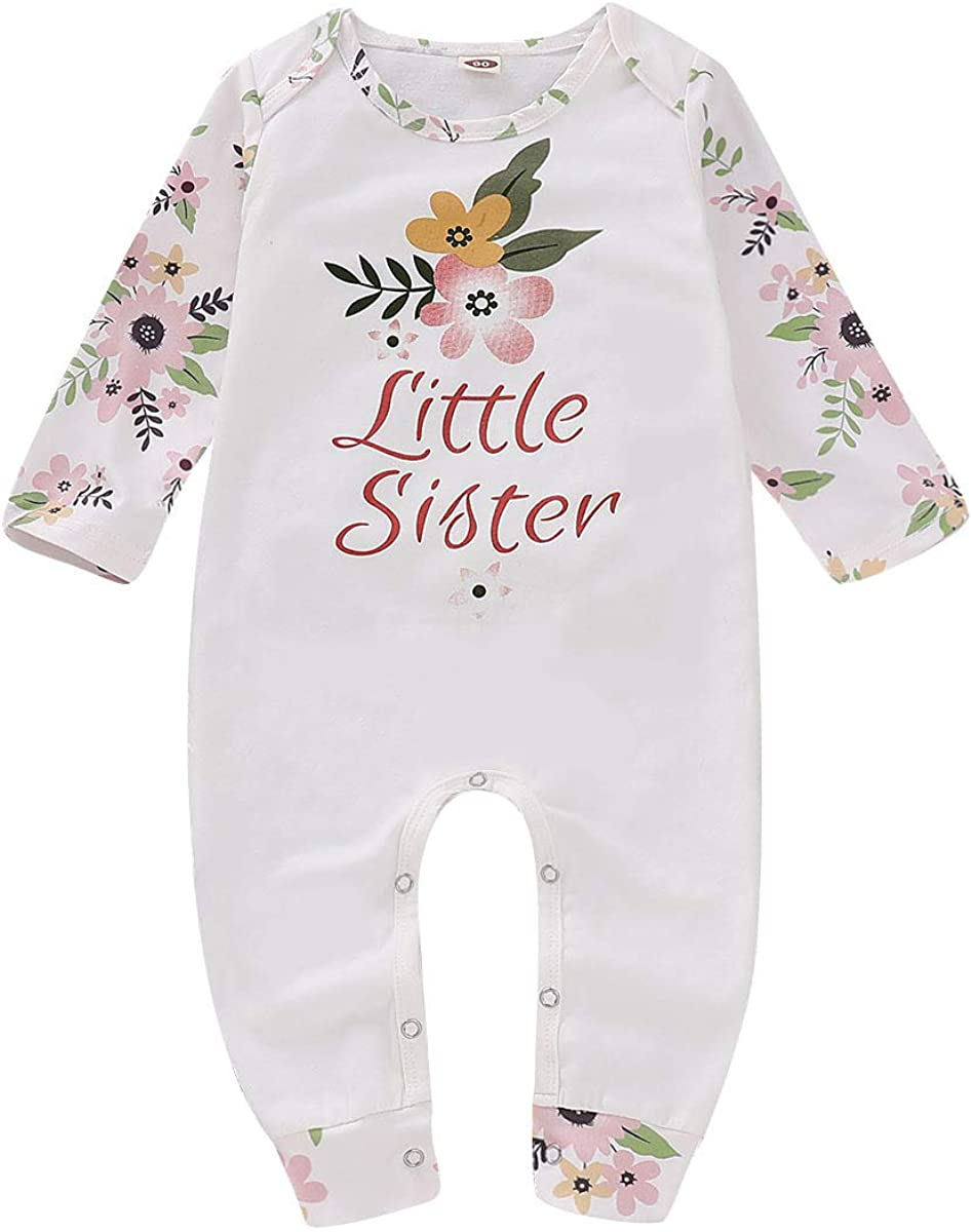 URMAGIC Newborn Baby Girls Summer Romper Jumpsuit,Baby Sisters Clothes Little Sister Romper Jumpsuit Big Sister Ruffle Sleeves T-Shirts Girls Summer Clothes