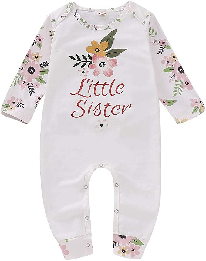 Blue, 110// 2-3T PVSECTOR Baby Girls Little Big Sister Outfits Floral Romper Long Sleeve Hoodies
