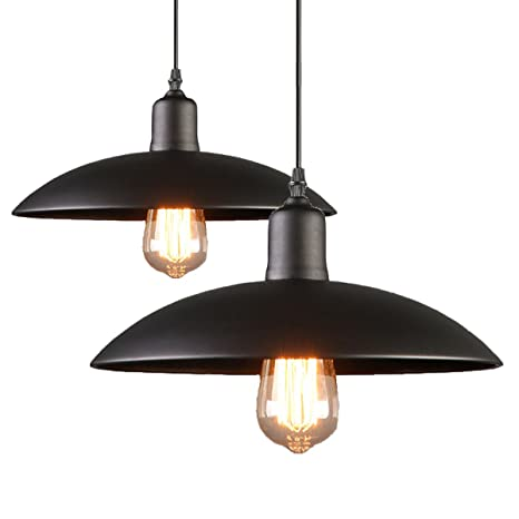 2-Pack Black Iron process Pendant Light Hanging Ceiling Mounted ...