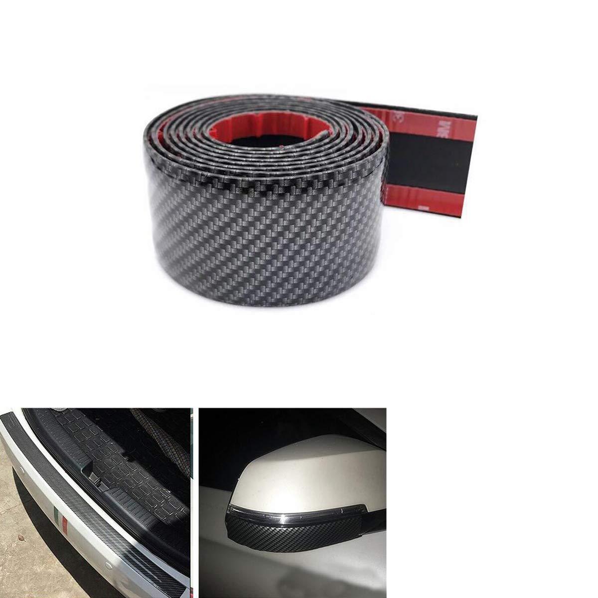 SMKJ Black Flexible Rubber Carbon Fiber Sill Cover Non Slip Adhesive Strips Rear Bumper Protector Trunk Scratch-Resistant Guardrail