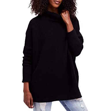 Free People Womens Medium Oversize Tunic Sweater Black M At Amazon