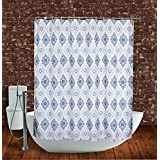 """Abreeze Blue and White Shower Curtains Vintage Bathroom Partition Curtain WaterProof Mildew Proof Polyester Shower Curtains 71"""" x 71"""""""