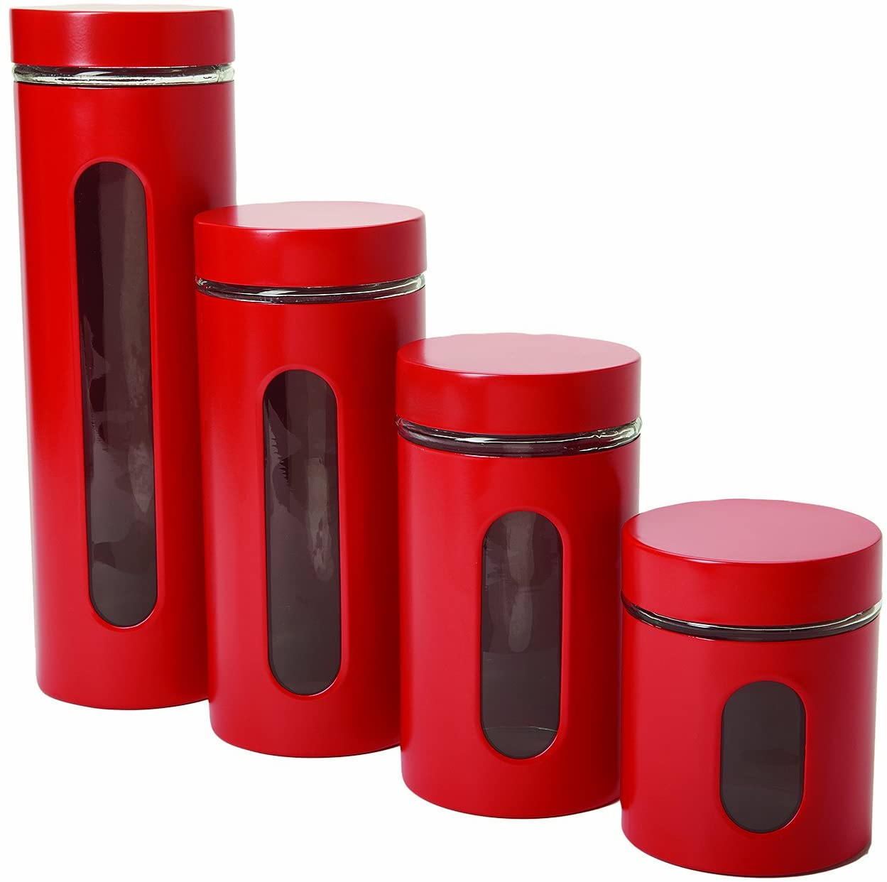 Anchor Hocking Palladian Window Cylinder Jars, Mixed Sizes, Cherry, Set of 4: Kitchen Storage And Organization Product Sets: Kitchen & Dining
