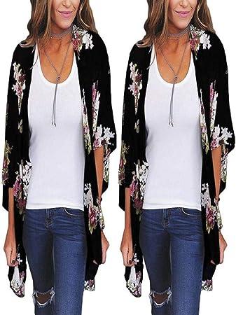 ❤ Kimono Mujer,Modaworld Cárdigans Mujer Imprimir Chales Wraps Outerwear de Playa Jersey Cárdigan Kimono Chaqueta Tops Sueltos Camisolas y Pareos: ...