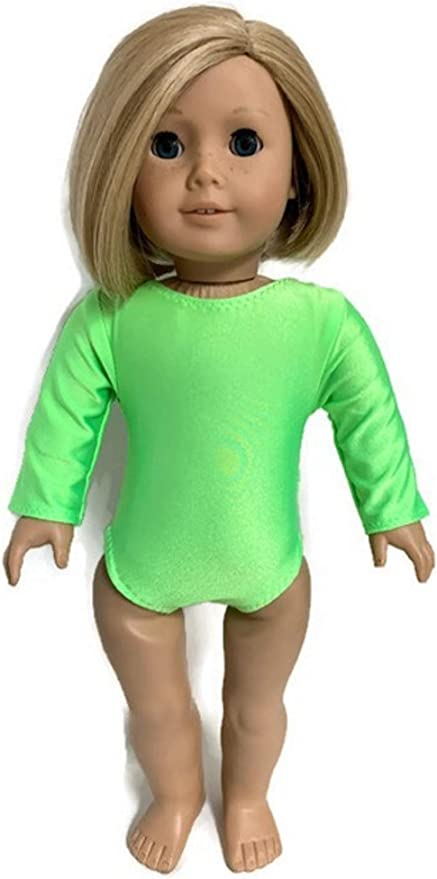 Metallic Turquoise Long Sleeved Gymnastics Leotard Fits 18 inch American Girl Doll