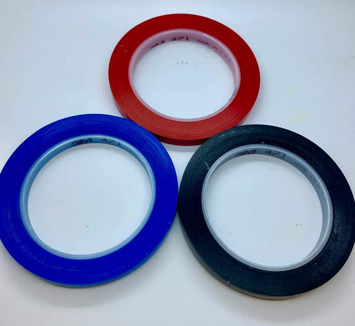 Masquer Automobile 3mm Rouge+6mm Noir+8mm Bleu Ligne Fine 3M Ruban Adh/ésif de Masquage pour Peinture de Voiture