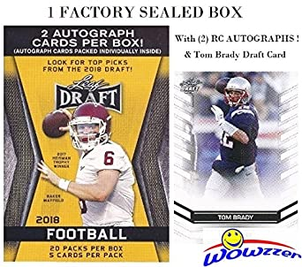2018 Leaf Draft Football Exclusive Huge Factory Sealed 20 Pack Retail Box With Two2 Autographs Bonus Tom Brady Draft Card Box Includes 100