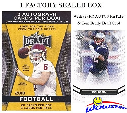 2018 Leaf Draft Football EXCLUSIVE HUGE Factory Sealed 20 Pack Retail Box with TWO(2) AUTOGRAPHS & BONUS TOM BRADY Draft Card! Box Includes (100) ROOKIE Cards of all the Top NFL Draft Picks! WOWZZER! (Elite Basketball Card Box)