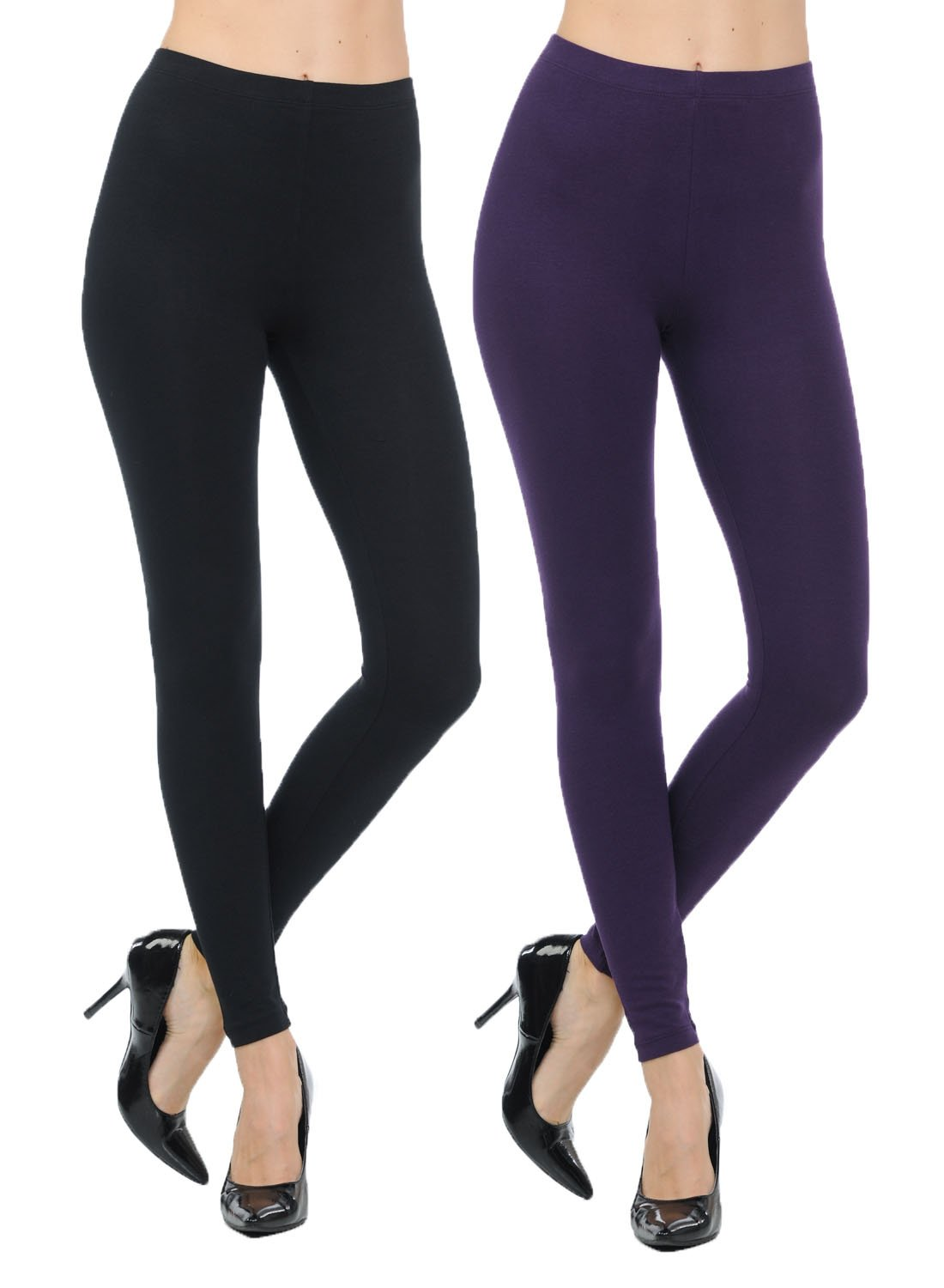 JNTOP Two Pack Cotton Leggings Black/Dark Purple Large