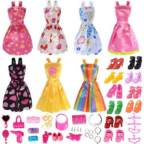 Total 56pcs - 7 Pack Barbie Clothes Dresses Accessory Party Grown Outfits Barbie Fashionista + 49pcs