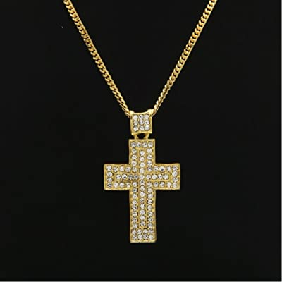 RENYZ.ZKHN Cross Necklace Hip Hop Jewelry Diamond Studded Cross Pendant, Classic Cross Pendant