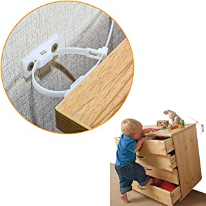 Furniture Straps(20-Pack ) Hzrfun Furniture Wall Anchor,Baby Proofing Anti Tip Furniture Anchor Kit, Furniture Wall Straps, Bearing 132Ib,Adjustable Child Safety Straps Earthquake Resistant